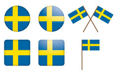 Badges with Sweden flag Royalty Free Stock Photography