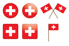 Badges with Swiss flag. Set of badges with Swiss flag vector illustration Royalty Free Stock Image