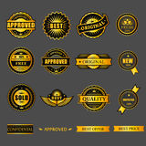 Badges tag label sticker gold set. For business Royalty Free Stock Photography