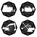 Badges with the technique of coal mining Stock Photography
