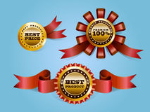 Badges. Three  badges with best options on blue screen Stock Photos