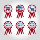 Badges U.S presidential election. Set of republican and democrat badges for u.s presidential election 2012 Stock Photo