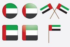 Badges with the UAE flag. Set of badges with the United Arab Emirates flag Stock Images