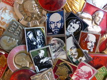 Badges of the USSR with Vladimir Lenin`s image. Collection. Faleristics. Close-up. Background Royalty Free Stock Photos