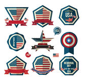 Badges vector set. Can use for greeting card ,Memorial day, Independent day and labels miscellaneous. Vector Illustrator Stock Images