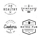 Badges in vintage style on pub and food theme. Monochrome labels in retro style of 80s Stock Photo