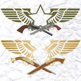 Badges with wings and arms royalty free illustration