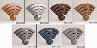 Badges wireless WiFi. A set of 3D logos Wireless WiFi close-up Vector Illustration