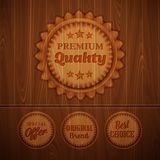 Badges on wooden background. Vector illustration. Badges on a wooden background. Vector illustration Royalty Free Illustration