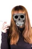 Badgirl smoke. A bad girl smoke cigarette royalty free stock images