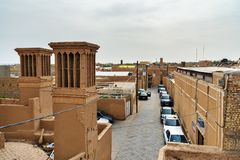 Badgirs, windcatchers sul tetto in Yazd l'iran Fotografie Stock