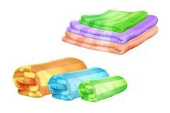 Badhanddoeken en plaiden vectorillustratie stock illustratie