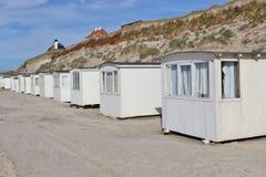 Badhus på en sandig strand, Danmark, Skandinavien, Europa Royaltyfria Foton