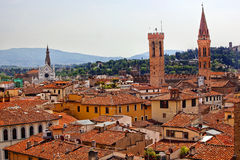 Badia Bargello San Croce Florence Rooftops royalty free stock images