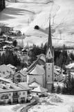 Badia Dolomites town aerial view Royalty Free Stock Photos