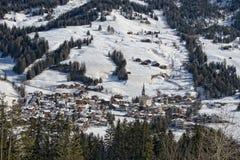 Badia Dolomites town aerial view Stock Image
