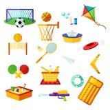 Badine des activités Collection plate d'éléments de récréation extérieure d'été et sur la plage Ensemble de symboles d'activité d illustration libre de droits