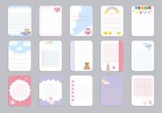 Badine des cartes de vecteur de calibre de page de carnet, notes, autocollants, labels, illustration de papier de feuille d'étiqu Photographie stock libre de droits
