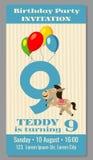 Badine l'invitation d'animaux de bande dessinée de fête d'anniversaire illustration de vecteur