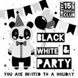 Badine la carte noire et blanche d'invitation de partie avec le thème animal de panda illustration de vecteur