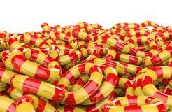 Badine la pile gonflable d'anneaux Photos stock