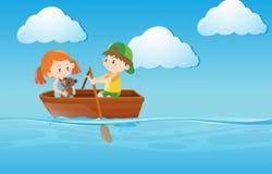 Badine le bateau à rames en rivière illustration libre de droits