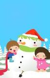 badine le bonhomme de neige Image libre de droits