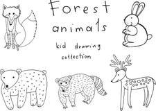 Badine le dessin des animaux Collection de griffonnage de page drôle de coloration Images libres de droits
