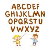 Badine le garçon d'art d'école, ABC, alphabet, aducation, Images stock