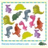 Badine le jeu éducatif Dirigez l'illustration des enfants déconcertent avec le dinosaure de bande dessinée Photo stock