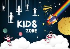 Badine le jour pour des enfants jouant dans l'espace, illustration de vecteur