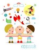 Badine le livre de lecture avec l'imagination volant, lecture d'enfants illustration stock