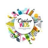Badine le métier d'art, éducation, classe de créativité Dirigez la bannière, affiche avec le fond de livre blanc, lettres tirées  illustration de vecteur