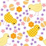 Badine le modèle sans couture avec des poulets, des fleurs et des papillons illustration stock