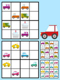 Badine le puzzle de sudoku avec des automobiles de voitures Photographie stock libre de droits