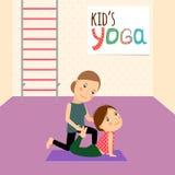 Badine le yoga avec l'instructeur illustration libre de droits