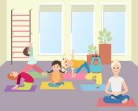 Badine le yoga avec l'instructeur dans la classe de gymnase illustration de vecteur