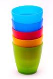 Badine les tasses en plastique Photographie stock libre de droits