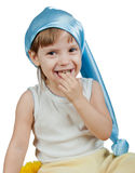 Badinez dans le chapeau bleu de sommeil d'isolement sur le blanc Image stock