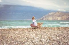 Badinez et poursuivez dans la plage observant à la mer Photographie stock