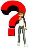 Badinez l'être humain de l'adolescence de garçon avec un point d'interrogation rouge illustration de vecteur