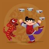 Badinez les amours jouant avec l'animal chinois de zodiaque - chien Images stock