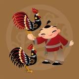 Badinez les amours jouant avec l'animal chinois de zodiaque - coq Photo libre de droits