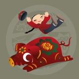 Badinez les amours jouant avec l'animal chinois de zodiaque - porc Image stock