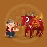 Badinez les amours jouant avec l'animal chinois de zodiaque - Ram Photo stock