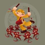 Badinez les amours jouant avec l'animal chinois de zodiaque - rat Photo libre de droits