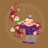 Badinez les amours jouant avec l'animal chinois de zodiaque - singe Photo stock
