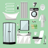 Badkamers binnenlands meubilair Vectorillustratie in vlakke stijl Ontwerpelementen, badkuip, wasmachine, douche Stock Foto's