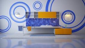 Badkamers in blauw Stock Afbeeldingen