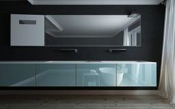 Badkamers in een moderne ijdelheidseenheid die wordt weerspiegeld Stock Afbeeldingen